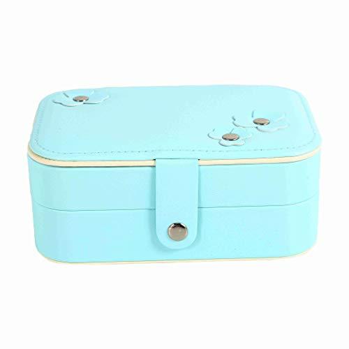 OVBBESS Organizador portátil para mujer Joyero Organizador de almacenamiento para niñas de viaje de 2 capas rectangulares pendientes collar estuche de transporte Cajas de regalo (azul)