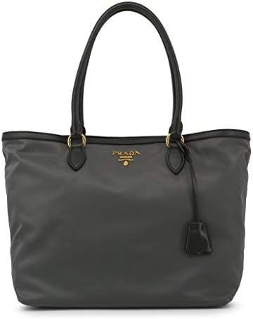Prada Gray Tesutto Nylon w Calf Leather Trim Shopping Tote Handbag 1BG158 product image