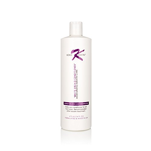 Koko's Keratin Conditioner A Sodium Chloride and Paraben Free Moisturizing Conditioner For Daily Use. White Orchid Conditioner. Recommended After Keratin Treatment (16 Oz)