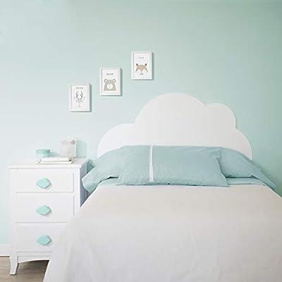 Cabecero infantil. Modelo Nube 90 cm El modelo Nube es un cabecero infantil para camas de 90 cm, dando la forma de una nube, creando un ambiente diferente, para su dormitorio infantil. Medidas: 107cm alto x 100cm ancho Fabricado en MDF lacado Product...