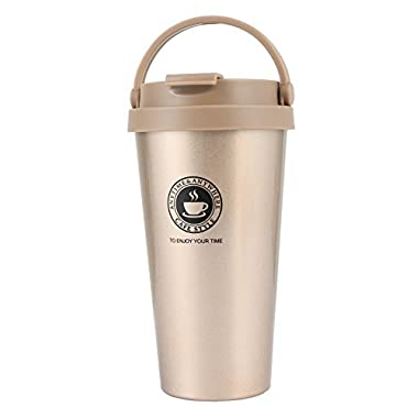 18/8 Stainless Steel Double Wall Vacuum Insulated Travel Coffee Mug with Handle/Portable Thermal Cup,Wide Mouth Tumbler with Leak Proof Lid,16oz,Champagne