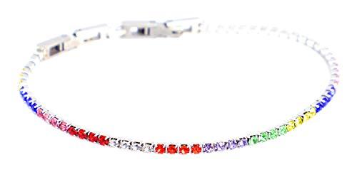 Bracciale Tennis in Acciaio con zirconi Multicolore Rainbow Brillanti, Idea Regalo - Db Gioielli (2mm)