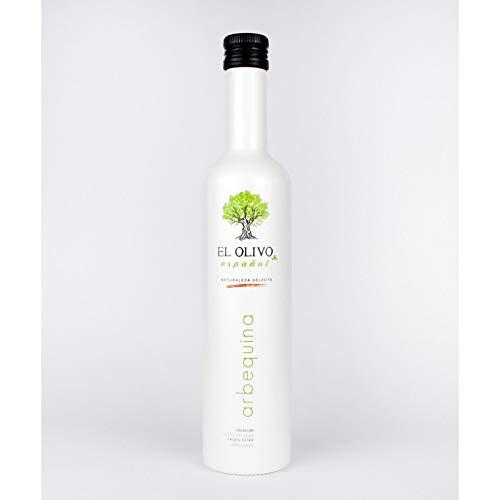 EL OLIVO ESPAÑOL Aceite de Oliva Virgen Extra, premium , variedad arbequina, botella 500ml, incluye estuche de regalo