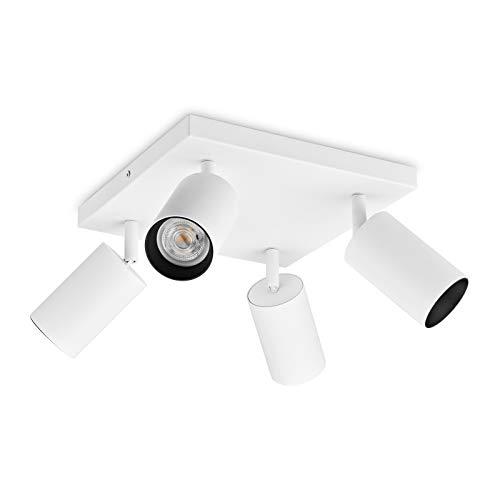 OPPER - Lámpara de techo con 4 luces LED orientables, incluye 4 bombillas LED GU10, 400 lm, foco de techo, foco de pared, 4 focos, luz blanca cálida, 3000 K