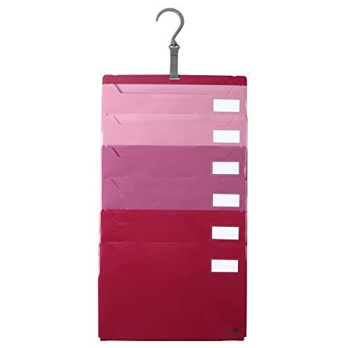 ジット ファイル仕分け上手 A4 6ポケット 壁掛け・たためる2wayファイル (ピンク)