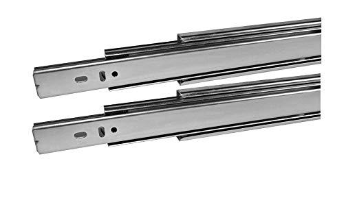 2 paia (4 PEZZI) Guide a Estrazione Totale per cassetti - marca GAMET- argento mm 500 (chiusa) -acciaio zincato- Capacita' di Carico 45 Kg (mm 550)