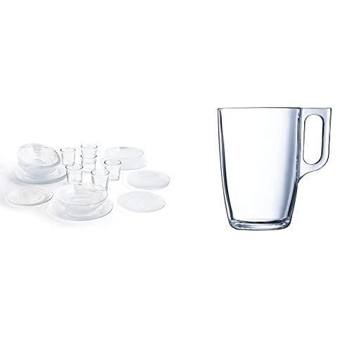Luminarc Vajilla Completa Moderna para 6 Personas 18 Piezas + Set de 6 Vasos de Vidrio 26cl, Opal, Único, Estándar + Nuevo Set 6 tazas desayuno mugs café de vidrio para microondas 32cl, Negro