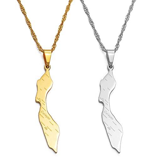 Collares Collares de Curazao para mujer, niña, color dorado y plateado, colgante de color de Curazao, mapas, nombre, joyería de pueblo, cadena fina de 60 cm de color dorado