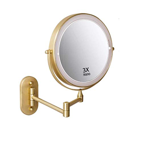 XYSQ Wall Mounted Makeup Mirror with Lights and Magnification Brushed Gold 8 Inch Magnifying Makeup Mirror with Lights, Double Sided Vanity Mirror for Bathroom, Plug Powered Wall Mounted Mirror
