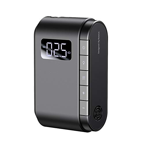 BaseusTire Inflator Portable Air Compressor, Electric Cordless Rechargeable Pump 150PSI with Pressure Gauge Wireless DigitalLED Light Smart Display for Car/Bike/Bicycles/Balls Black