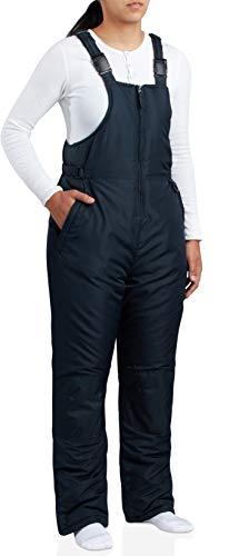 CHEROKEE Women's Insulated Snow Bib - Water Resistant Ski Overall Pants, Black, Size Medium