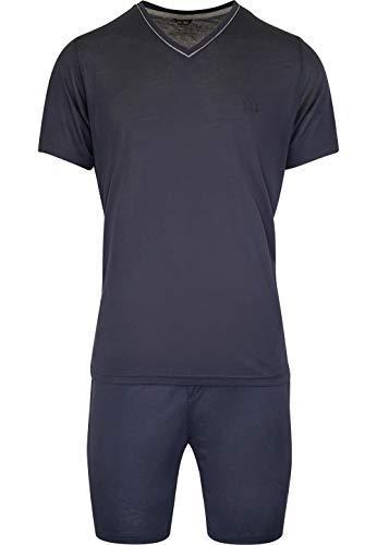 HOM - Herren - Kurz-Pyjama \'Relax\' - 2-Set hochwertige Schlafmode - Navy - S