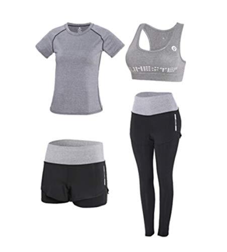 LUCHAO pantalones de cintura alta+abrigo con capucha+camiseta+sujetador+pantalones cortos para mujer yoga 5 piezas juego de ropa de deporte al aire libre de secado rápido fitness ropa deportiva 3XL (Color: 13, tamaño: XXL)