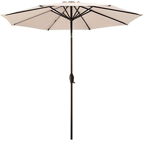 MMBBOD 240cm sombrillas terraza inclinable Parasol de Jardín, 2.4m Grande Sombrillas Patio con Manivela Protección Solar UV 50+, para Jardín Patio Playa Exterior (Color : Beige)