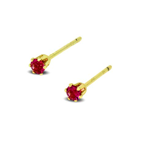 Blue Diamond Club - Tiny 9ct Yellow Gold Filled Womens Stud Earrings Girls Round Small 3mm Red Crystals 6 Claws