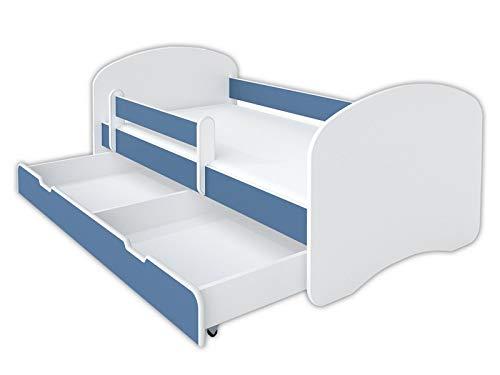 BellaLuni Lit pour enfant 70 x 140 cm Bleu avec protection anti-chute Matelas tiroir et sommier à lattes pour fille et garçon