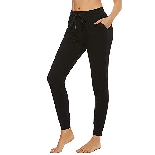 Shinyforetooth Jogginghose Damen Freizeithose Slim Fit Baumwolle Sporthose Trainingshose Mit Softem Lightweight Cuffed Jog Pants mit Taschen (Schwarz, X-Large)