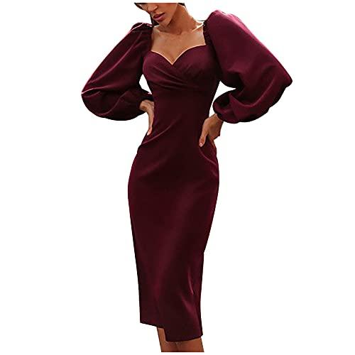 pamkyaemi Vestido de cóctel para mujer, largo, sexy, de manga larga, para fiesta, club, vestido de noche, de un solo color, vestido de playa, vestido de dama de honor, Vino, M