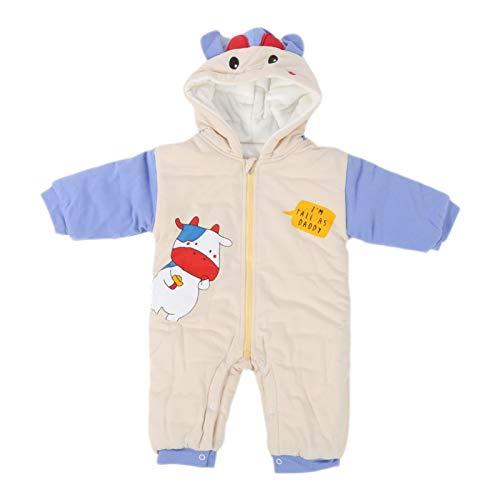 Mameluco con capucha, mono de bebé, diseño con capucha mono engrosado lindo para uso infantil de niños de invierno frío(Beige, 90cm)