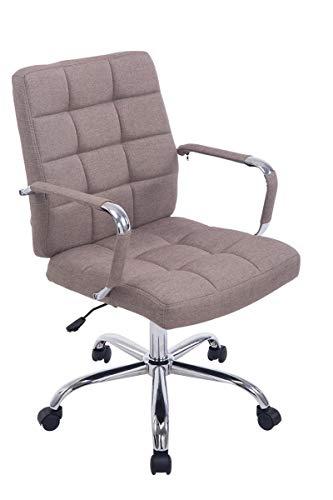 CLP Bürostuhl Deli PRO mit Stoffbezug I Schreibtischstuhl mit Metalldrehkreuz I Chefsessel mit Laufrollen I erhältlich Taupe