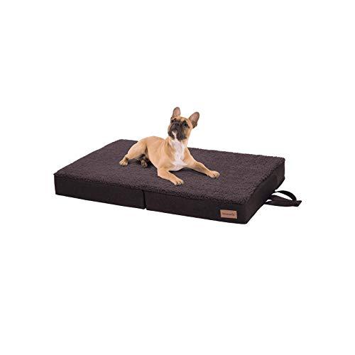 brunolie Paco klappbares Hundebett in Braun, waschbar, orthopädisch und rutschfest, Hundekissen mit atmungsaktivem Memory-Schaum, Größe M 80 x 55 cm