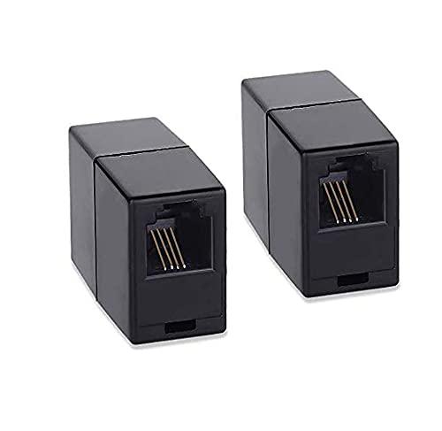 Paquete de 2 acopladores de teléfono, acopladores en línea SHONCO negros RJ11 6P4C, adaptador de acoplador de línea telefónica, teléfono recto modular hembra a hembra, adaptador de cable ADSL