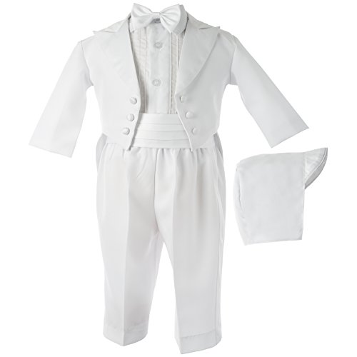 Lauren Madison baby boy Christening Baptism Tuxedo with Matching Hat, White, 6-9 Months