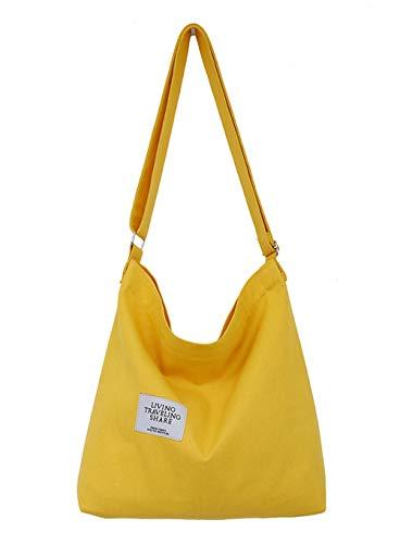Covelin Women's Retro Large Size Canvas Shoulder Bag Hobo Crossbody Handbag Casual Tote Yellow