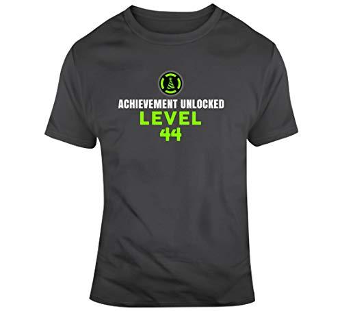GORONYA Logro Desbloqueado Nivel 44 Edad Año Nacimiento Fecha Cumpleaños Personalizada Camiseta Gris Carbón