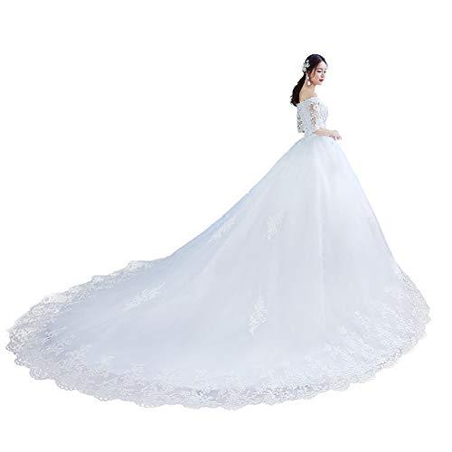Sijux Schulterfreies Spitzen-Brautkleid für die Braut Braut Long Tail Dreamy Princess Sweetheart Kragen Kurzarm Kleid,White,XL