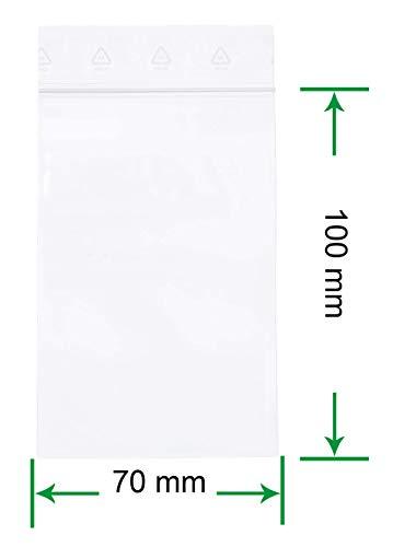 HeiZip 100 x Druckverschlussbeutel 70 x 100 mm, 90 mµ/MY (extra stark), Transparent, Unbedruckt, Wiederverschliessbar, Lebensmittelecht