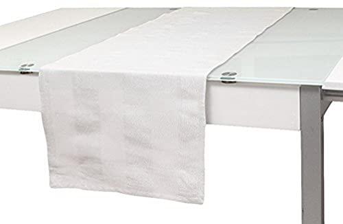 Soleil d'ocre Chemin de Table Lyam Blanc, Coton, 40 x 140 cm