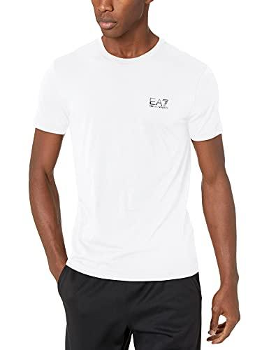EA7 Uomo T-Shirt con Logo del Petto, Bianca, M