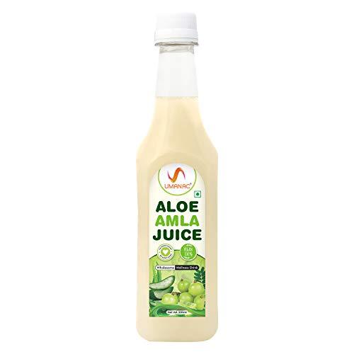 UMANAC Aloe Vera Amla Juice, Aloe Gooseberry Mix Juice, Immunity Booster, high in fiber, rich in Vitamin A, C, E & B12, Potassium, Nutrients, Calcium, Mineral -500ml/ 16.9fl oz