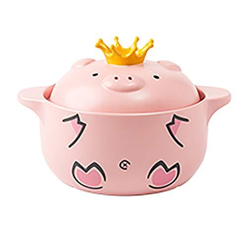 Cartoon Pattern Ceramic Soup Jar, Round Shape, Heat Resistant Lid, Pig Shape, Cute, 1600ml Large Capacity, Full Frosting,