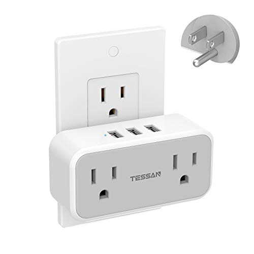 Multi Plug Outlet Extender with USB, TESSAN Double Electrical Outlet Splitter with 3 USB Wall Charger, Mini Multiple Expander for Travel, Home, Office