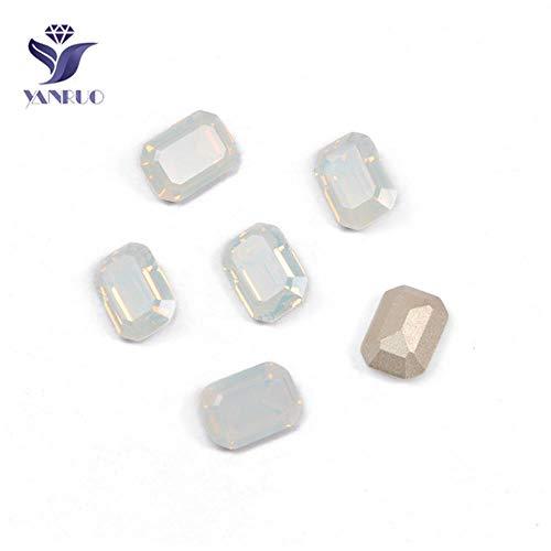 4610 Ottagon-kristallen, strass-steentjes, gouden ketting, voor kledingaccessoires, opaal wit, met zilveren klauw