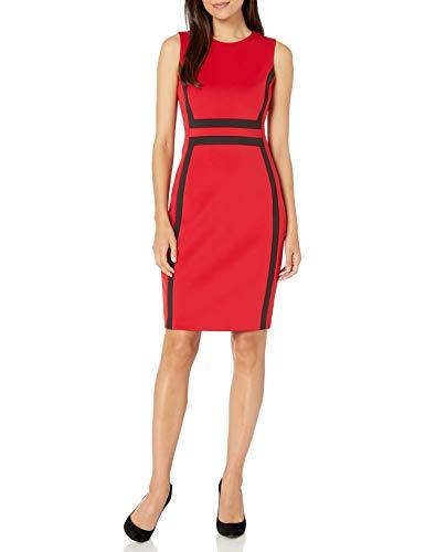 Calvin Klein Women's Sleeveless Colorblock Sheath Dress, Red/Black 2, 10