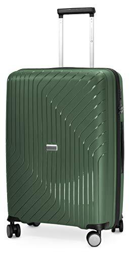 HAUPTSTADTKOFFER - TXL - Valigia rigida Trolley da viaggio leggero e infrangibile, TSA, 4 ruote, 66 cm, 78 L, Verde Scuro