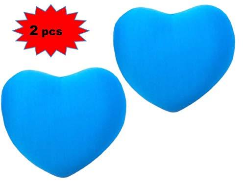 ML Pack 2 Cojin Corazón De Licra Antiestrés 28cm. cojin Antiestres Relax Relleno DE Bolitas (Azul)
