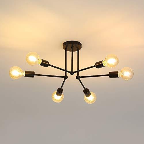 Osairous Lámpara de Techo Vintage, Luces de Techo LED de Interior de Metal Negro, Luces de suspensión para Comedor, Dormitorio