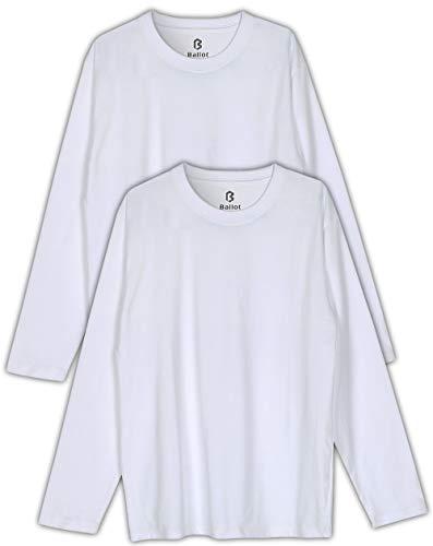 Ballot ロング Tシャツ メンズ 無地 長袖 2枚組 (ホワイト, L)