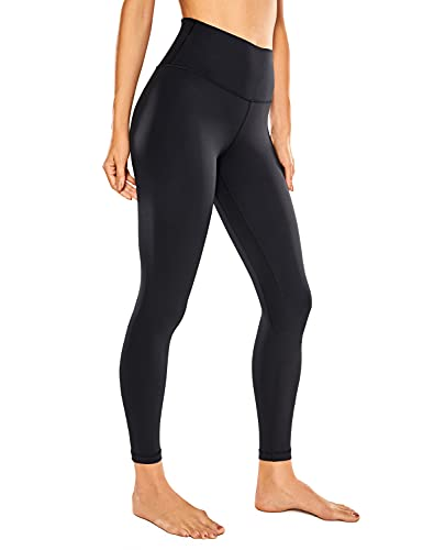 CRZ YOGA Women's Naked Feeling Yoga Pants 25 Inches - 7/8 High Waisted Workout Leggings Black_R009A X-Small