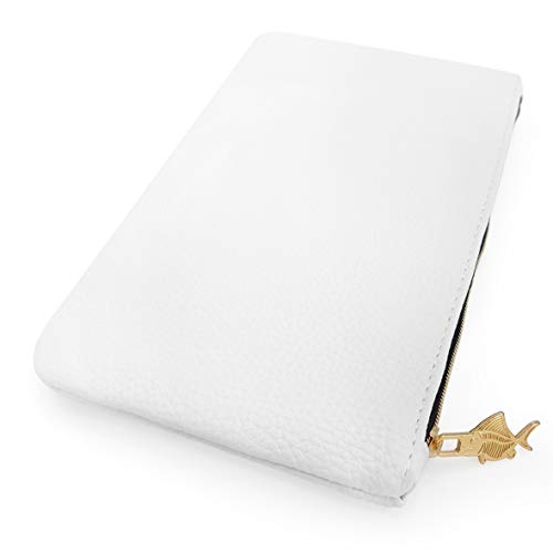 Faux Leather Pencil Case - Leather Look Makeup Bag - White with Gold Zip