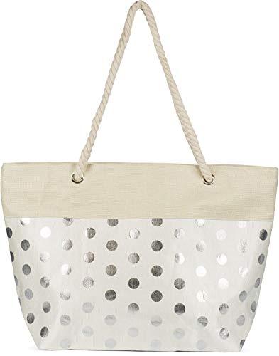 styleBREAKER Damen XXL Große Strandtasche mit Metallic Punkte Muster und Reißverschluss, Schultertasche, Shopper 02012342, Farbe:Beige-Silber