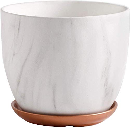 High Quality Marbled Ceramic Flowerpot Indoor Or Outdoor Flower Pot with Tray Ceramic Plant Pots for Home Office Christmas New Year Decoration Medium, Large, Extra Large (Size : Large)