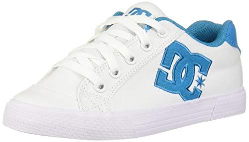 DC Women's Chelsea TX Skate Shoe, White/Blue, 8 M US