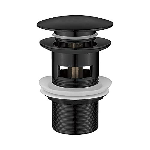 Ibergrif M20502B Click-Clack Desagüe Lavabo Universal con Rebosadero, Válvula Tapon para Bidés, Negro, M