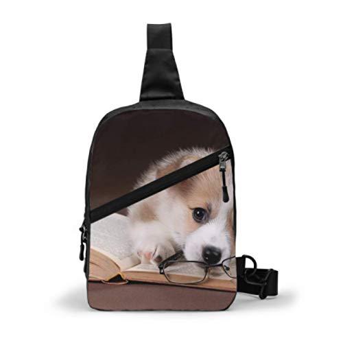 Sling Bag Mochila de Hombro en el Pecho, Cute Puppy Welsh Corgi...