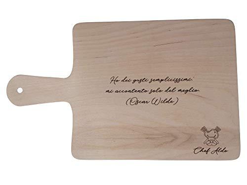 Tabla de cortar de cocina de madera con grabado personalizado con frase Nombre Logo accesorio cocina Idea regalo 50 x 30 cm
